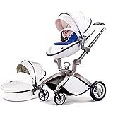 Cochecitos para niños pequeños, ángulo de altura de asiento ajustable y amortiguadores de cuatro ruedas Buggies de bebé, reversibles, vistas altas, cochecito ligero de moda