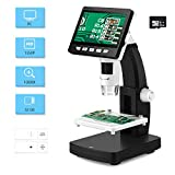4.3 inch LCD Digital USB Microscope with 32G TF Card,Koolertron 50X-1000X Magnification Zoom Camera Video Recorder,Rechargeable Lithium Battery,HDMI/AV/USB Output,8 Adjustable LED Light Soldering Coin