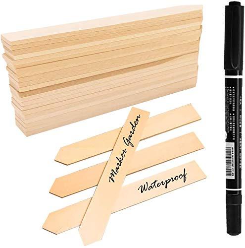 LATERN 50 STK Pflanzenschilder Holz Pflanzenstecker, und 1stück Marker Pen, Stecketiketten Holz für Pflanzen, Etiketten, Garten, 15CM Lange