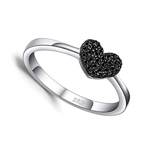 litulituhallo Forever Love - Anillo de promesa para su aniversario, chapado en oro blanco, plata y negro natural