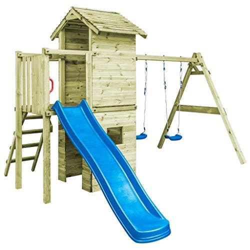 Tidyard Spielturm mit Schaukeln, Leiter, Rutsche Holzspielhaus Kletterturm Massives Kiefernholz Garten-Spielplatz Spielhaus 390 x 353 x 268 cm