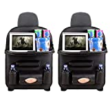 Car Backseat Organizer, Backseat Car Organizer with Tray, Table Tray, Foldable Dining Table with iPad and Tablet Holder,Travel Accessories Organizer Pockets Back seat Organizer (2 Pack, Black)