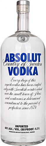 Absolut Vodka Original / Absolute Reinheit und einzigartiger Geschmack in ikonischer Apothekerflasche / Schwedischer Klassiker - ideal für Cocktails und Longdrinks / 1 x 4,5 L