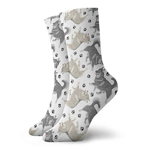 Trotting schwedische Vallhund und Pfotenabdrücke – weiß Herren Damen und Mädchen Classics Crew Socken personalisierte athletische Kleid Socken 30 cm lang alle Saison
