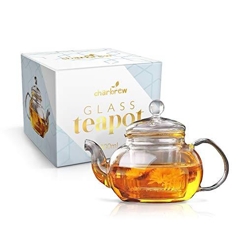 Charbrew Hochwertiger Teekrug 800ml mit Glasfilter und Glasdeckel, Borosilikatglas, hitzebeständig und spülmaschinengeeignet