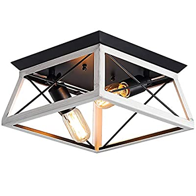 XIPUDA Flush Mount Light Fixture Farmhouse Pendant Kitchen Island Lighting Retro Industrial Metal Ceiling Chandeliers for Dinning Room Living Room