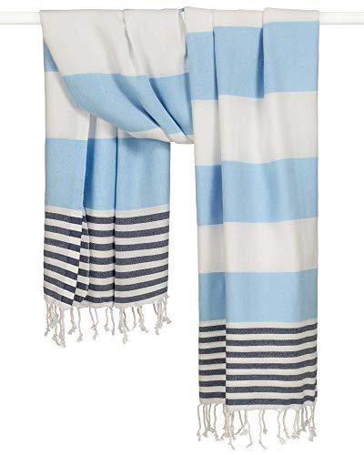 Morgenstern Hamamtuch Fouta Saunahandtuch Blau Weiß gestreift aus 100% Baumwolle - dünnes weiches Hamam Tuch mit Fransen ist ideal für Strand Sauna Spa Wellness Urlaub Reisen