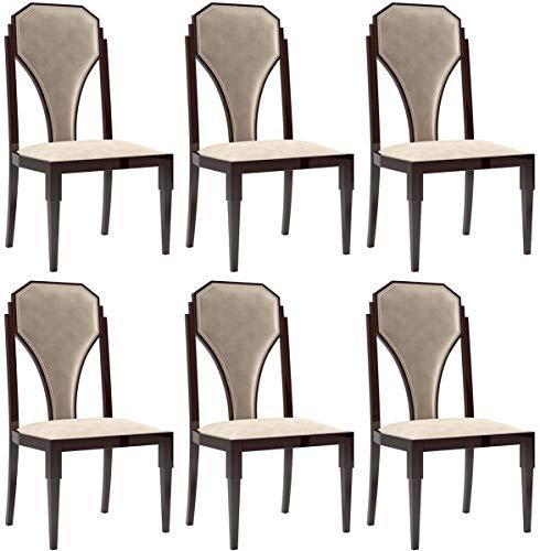 Casa Padrino Conjunto de sillas de Comedor Art Deco Beige/marrón Oscuro/Plata 55 x 55 x A. 110 cm -