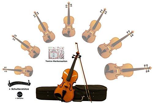 Sinfonie24 Geige/Violine Größe 4/4 für Einsteiger, Hamburger Geigenbau Manufaktur, (Basic III) All-in One Starter-Set (Koffer, Bogen, Kolophonium, Schulterstütze, Dämpfer), bernsteinfarbend, spielfertig eingerichtet mit Markensaiten