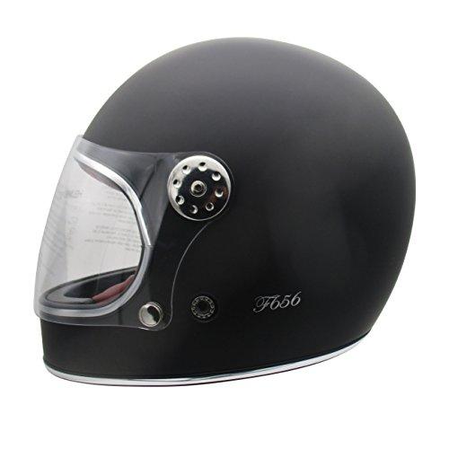 Viper F656?Vintage da Moto Casco Integrale in Fibra di Vetro Nero Opaco - Matt Black - Small