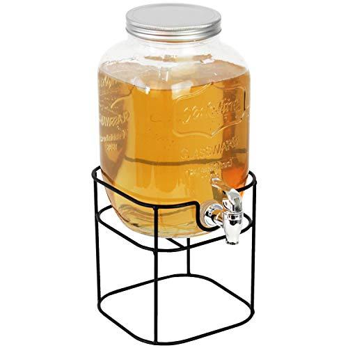 Dispensador de bebidas, 4 L, 15 cm de diámetro x 25 cm de altura, incluye grifo y soporte