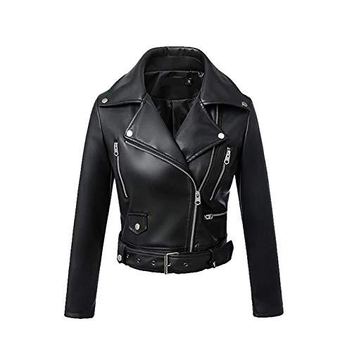 MIDNEFS Chaqueta Corta de Cuero sintético con cinturón Negro para Mujer, Bolsillos con Cremallera, Ropa de Calle, Abrigos Casuales de Motociclista