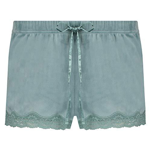 HUNKEMÖLLER Damen Shorts aus Velours mit Spitze grün S