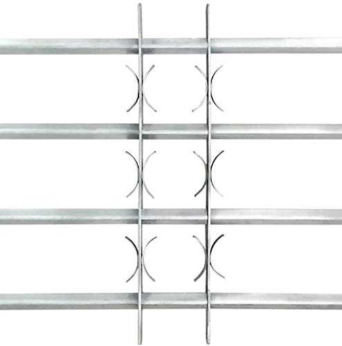 Reja de Seguridad para Ventanas, Reja para Ventana de Seguridad Ajustable en Anchura con 4 Travesaños 1000-1500 mm