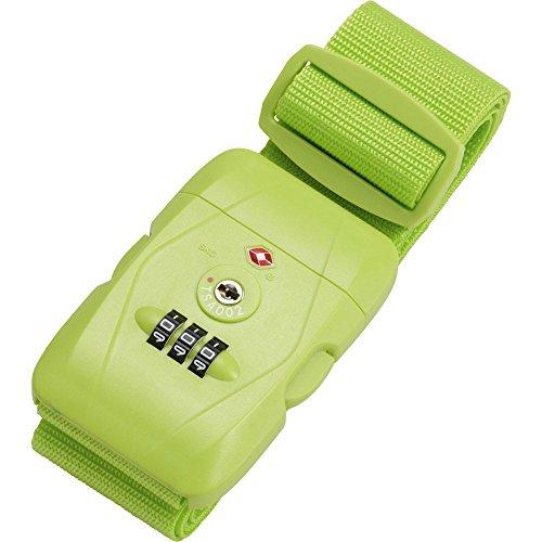 JSA Koffergurt aus strapazierfähigem Polyester, mit 3er Zahlenkombinationsschloss und TSA Gepäckgurt, 180 cm, Hellgrün