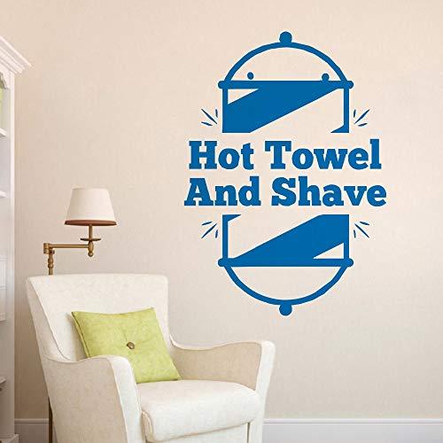 Pegatinas de pared, toalla caliente y afeitado, calcomanía de peluquería, calcomanía de vinilo para pared, peluquería turca, letrero artístico, cartel de decoración de habitación, 57x79cm