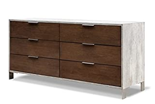 Limari Home The Odin Collection Modern Solid Veneer and Polished Concrete Contemporary Bedroom Clothes Storage Dresser With Stainless Steel Metal Legs, Handles and 6 Drawers, Gray and Dark Walnut (B071X8MQXP) | Amazon price tracker / tracking, Amazon price history charts, Amazon price watches, Amazon price drop alerts