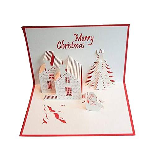 XUFAN Castillo Rojo Tarjetas De Felicitación De Navidad En Tres Dimensiones Del Corte Del Laser Surge El Papel Hecho A Mano Las Postales De Felicitación Tarjeta De Cumpleaños Tarjeta tarjeta de regalo