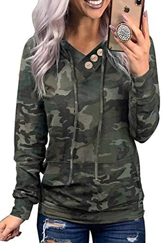 Ancapelion - Felpa da donna con cappuccio, casual, sportiva, a maniche lunghe, per autunno Verde mimetico M