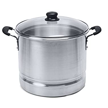 IMUSA USA MEXICANA-410 Aluminum Steamer with Glass Lid 10-Quart, Silver