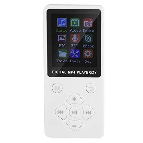 Hakeeta MP4-muziekspeler, ultradunne mini-textuurspeler, ondersteunt muziek, radio, opname, video, e-book en geïntegreerde stopwatch (32G)., wit