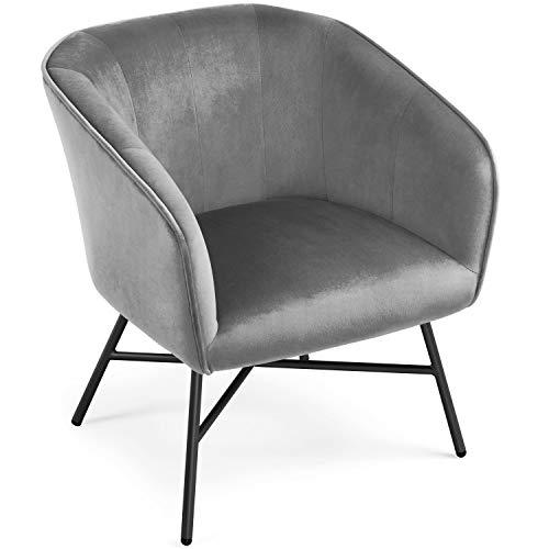 Yaheetech Bürostuhl Wohnzimmerstuhl Essensstuhl Beistellstuhl mit Samt Sessel Grau