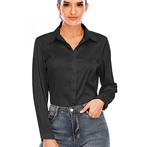 Women's Silk Blouse Long Sleeve Lady Shirt Casual Office Work Blouse Button-Down Shirts Tops(Black,M)
