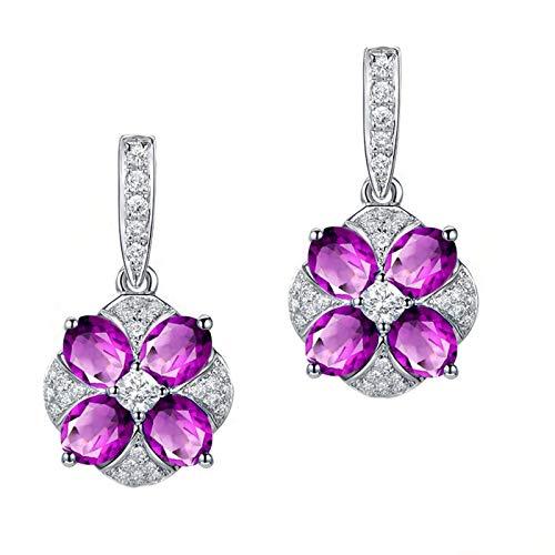KnSam - Pendientes de plata de ley 925 para mujer, amatista, diseño de flores, regalo para mujeres y madres