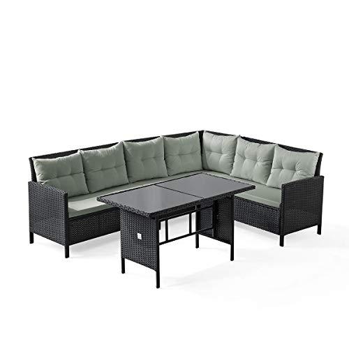 SVITA Poly Rattan Ecksofa Rattan-Lounge Esstisch Gartenmöbel-Set Sofa Garnitur Couch-Eck (Dining Set, Schwarz)