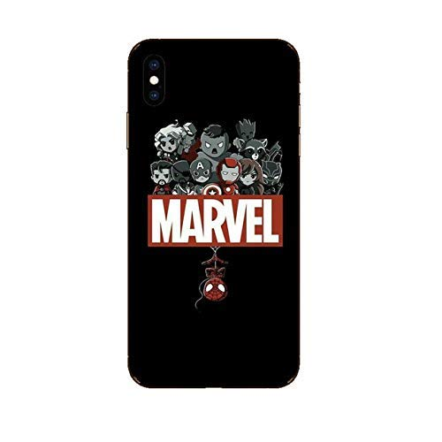 Todo Fundas Compatibles con iPhone, Superheroes Marvel Comics Vengadores Spiderman Capitan America Iron Man Deadpool Joker Flash Dibujos Niños Silicona (iPhone 6 / 6S (4.7'), 2)