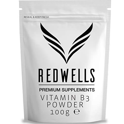 Vitamina B3 Polvere Nicotinamide REDWELLS Non Flush Polvere - 100g Pack
