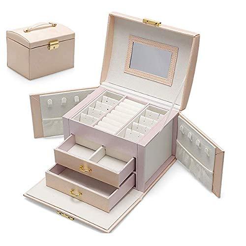 ADEL DREAM Joyero con 3 niveles y 2 cajones con espejo, para anillos, pendientes, collares y pulseras (color champán)