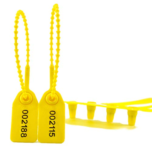 Pull Tight Security Seal Plastic Tags for Fire Extinguisher Numbered Seals Secure-Anti Tamper Zip-Ties (Pack of 100pcs, Yellow)