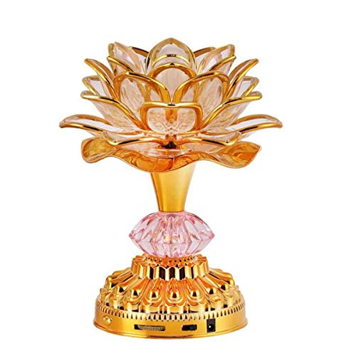 Omeet 7 Colorful LED Lotus Buddhist Lamp, Built 13 Buddhist Songs, Buddha Lotus Light, Buddhist Supplies - Gold