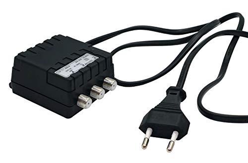 AL200/2 - Alimentatore per amplificatori antenna tv, 12V 200mA, 2 uscite con connettori F