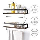 BAMFOX Wall Mounted Floating Shelves with Rails,Rustic Bathroom Shelf, Small Storage Organize for Kitchen Room Bathroom Living Room Bedroom, Set of 2