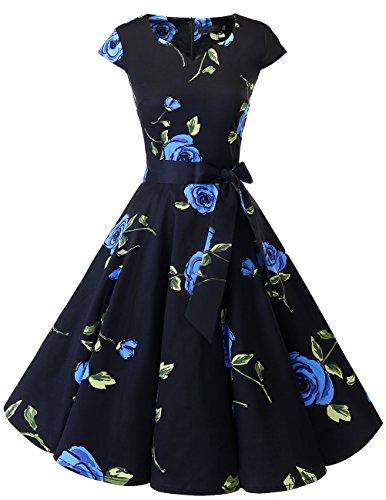 Dresstells Damen Vintage 50er Cap Sleeves Rockabilly Swing Kleider Retro Hepburn Stil Cocktailkleid Blue Flower S
