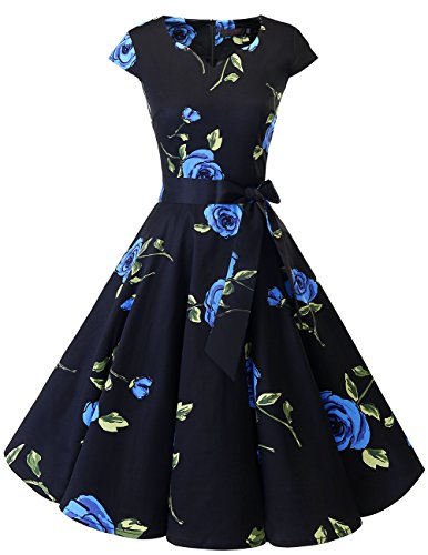 Dresstells Damen Vintage 50er Cap Sleeves Rockabilly Swing Kleider Retro Hepburn Stil Cocktailkleid Blue Flower M