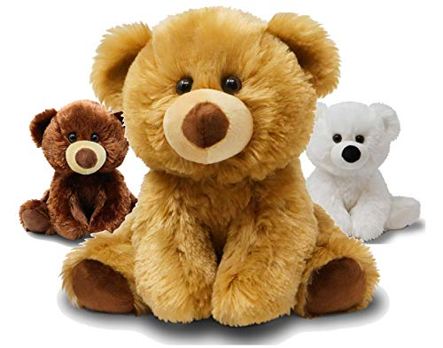Fluffuns Teddy Bear Stuffed Animal - Teddy Bears Stuffed Animals 9 Inch Stuffed Bear (Brown Light Brown White) (Brown, Light Brown & White)
