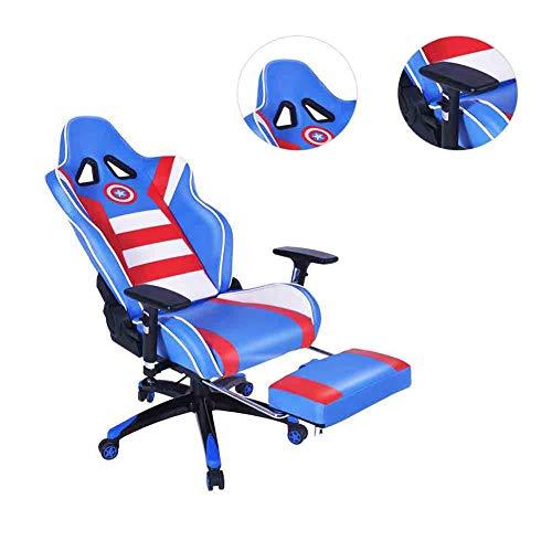 CSPFAIZA Silla Gaming con Reposabrazos Ajustable y Espalda Alta, Rotacion de 360 °, Diseno Ergonomico - Cojin Confort - Azul,A
