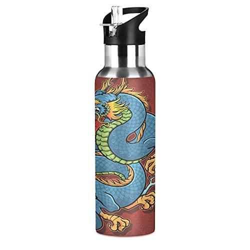 Arte Lindo Regalo Dragón Animal Botella de Agua Deportiva con Pajita Acero Inoxidable, 600ML Botellas Termica Sin BPA para Niños Deporte Gimnasio Ciclismo Escuela