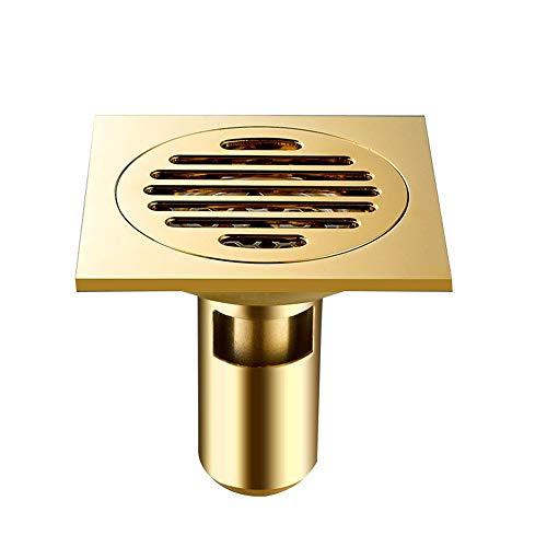 Bodenablauf Kupfer Bad Bodenablauf Geruch Bodenablauf Anlage Bad Küche Abzulassen Fein Geschnitzt Von 10 × 10 Cm (Goldfarbe) für Badezimmer Toilette Küche ( Color : Gold , Size : 10 x 10 x 9 cm )