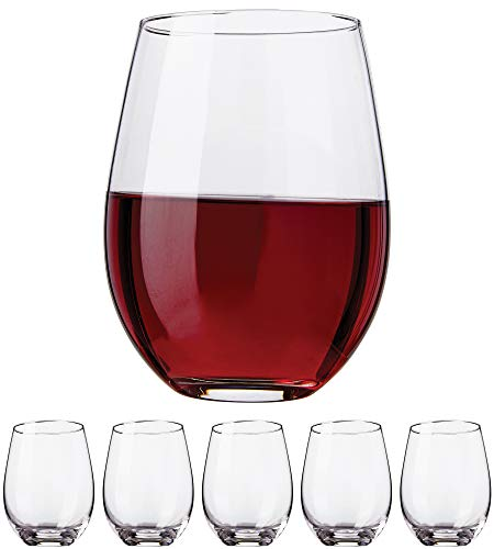 Kitchen Lux Stemless Wine Glasses, 18oz – Set of 6 Elegant Cocktail Tumblers – Premium Glass Drinking Cups – Deluxe Gift Pack - Dishwasher Safe – by Kitchen Lux