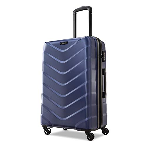 American Tourister Arrow Expandable Hardside Luggage, Navy, Checked-Medium 24-Inch