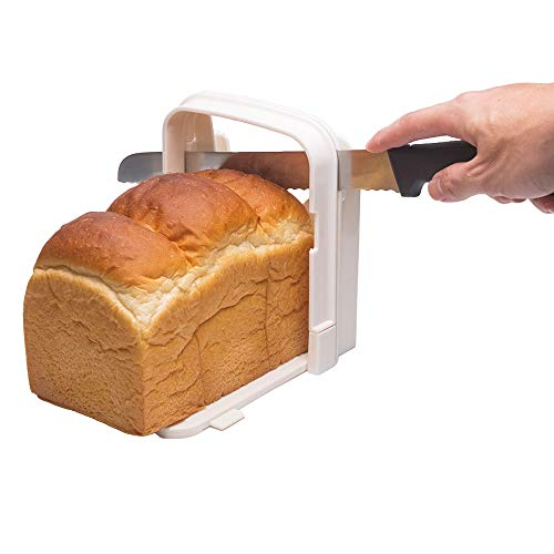 Dadam Bread Slicer Guide for Homemade Bread - Bagel Sandwich Toast Slicer - Loaf Cutter Machine - Foldable Adjustable and Customizable to 5 Thickness