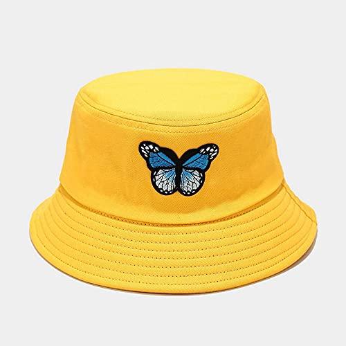 YDXC Sombrero de Pescador de Mariposa Salvaje para Mujeres y Hombres Pareja de Protector Solar Primavera Verano -Amarillo