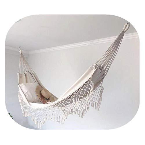 Uing Hamaca con borlas 100 algodón Hamaca para Exteriores Capacidad de Carga múltiple de hasta 120 kg Hamaca portátil con Columpios para Dormitorio Patio terraza Porche Capacidad para 2 Sturdy