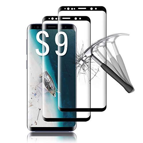 Shalwinn Panzerglas folie Schutzfolie 2 Stück für Samsung Galaxy S9, Anti-Kratzen Displayschutzfolie, 3D Vollständige Abdeckung, Anti-Bläschen, Hülle Freundllich Ultra Klar Panzerglasfolie