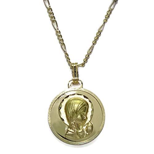 Never Say Never Medalla de la Virgen Niña Oro Amarillo 18 Quilates Joyería Religiosa | Diseño Italiano | Regalo Católico para Bautizo, Comunión
