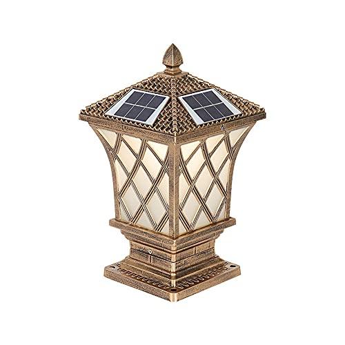 Sxxrdz 17.32''H Outdoor Solar Post Light Fixture, Exterior Solar Lamp Post Light with Decorative Led Pole Lantern, Oil-Rubbed Black Aluminum Finish Column Lamp for Stone Pillar Gate Porch